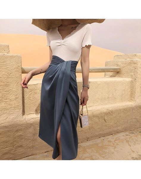 Vintage Irregular Split Formal High-Waist Women Skirt Office Mid-Calf Length Skirt Elegant Femme Casual Skirts
