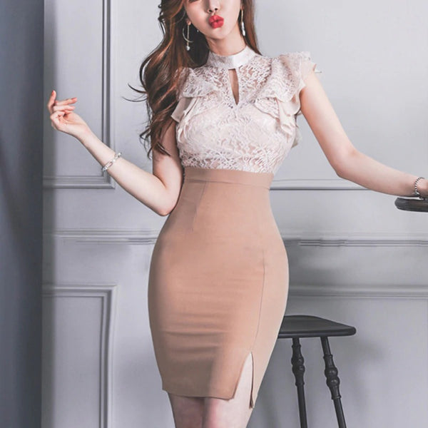 Women Elegant Patchwork Lace Vestidos 2020 Summer Sexy Bodycon Pencil Dress Slim Casual Work Party Sheath Dresses