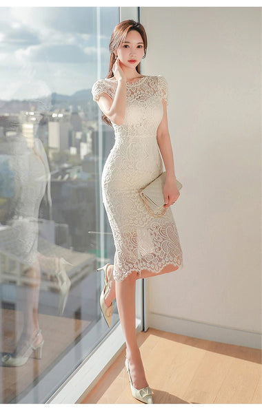 Women Elegant Sexy Bow Hollow Out Lace Vestidos 2020 Summer Bodycon Pencil Dress Casual O-neck Slim Sheath Dresses