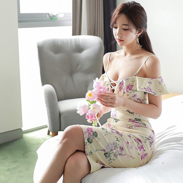 pencil dress korean version  sexy slim ruffled suspender print bag hip sheath bodycon dresses
