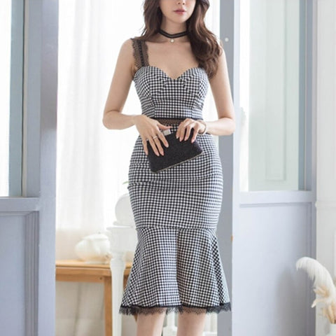 Women Summer Sexy Lace Patchwork Work Wear Plaid 2 Pieces Set Spaghetti Strap Blouses & Split Sheath Mermaid Skirt