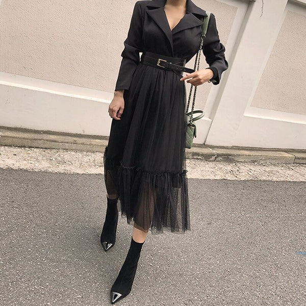 2020 New Spring Arrival Personality Korean Fashion Split Joint Lace Party Waist Belt Bandage Vestido Dress