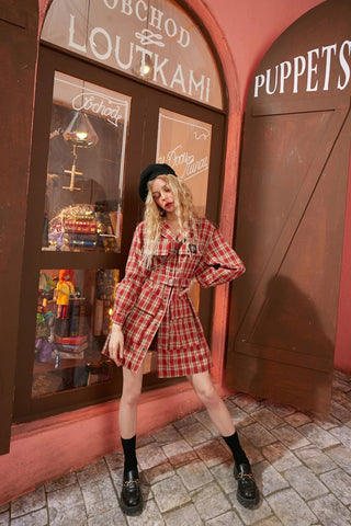Red Plaid British Belted Casual Women Mini Dress 2020 Spring New Applique Long Sleeve Korean female Preppy Daily Dresses