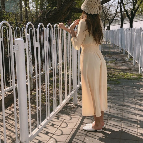 Women V Neck Summer Dresses Chiffon Flare Sleeve Slim Waist A Line Korean Style Clothes Design Button Shirt Dress Purple Yellow
