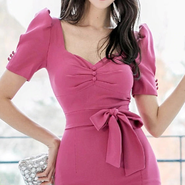 Korean Elegant Office Dress 2020 Spring Plain Bubble Short Sleeved Decorative Buttons High Waist Tight Slim Party Dress Women