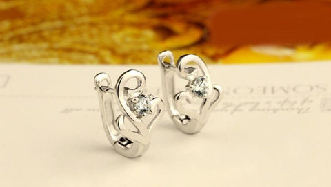 Hot Sale Romantic Jewelry Stud Earrings For Wedding Elegant Silver Color AAA Cubic Zirconia Crystal Earring  For Women Gift