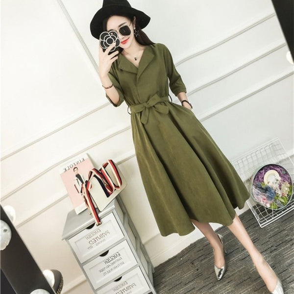 New Korean Fashion Blue Green Dress Half Sleeve Everyday Casual Belt Dresses Femme Autumn   Suede Midi Dresses For Women