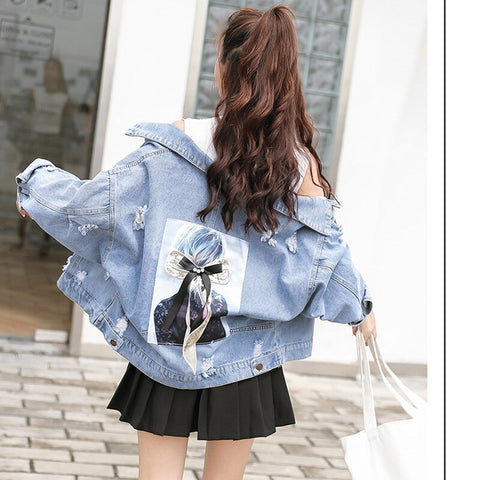 Ripped Jeans Jacket Women Korean Outerwear Streetwear Clothes Denim Coat Graffiti Pattern Decorate Hole Boyfriend Ulzzang Winter