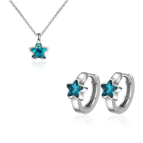 New Fashion 925 Sterling Silver Blue Five-pointed Star Zircon Pendant Necklace+Earrings for Women Choker Jewelry Sets kolye
