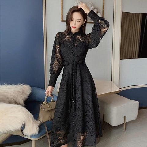 Fashion New Autumn Korean Women Dress Stand Collar Lantern Sleeve High Waist Slim Bandage Midi Dresses Female