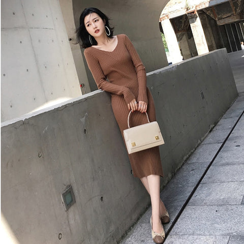 autumn winter sweter dress women 2019 new korean slim elastic knitted solid brown apricot a-line long sleeve midi dresses