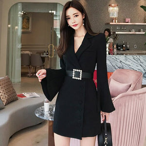 Korean Fashion Bodycon Dress Autumn Solid Color Wear To Work Business Pencil Dresses Sexy Fitted Vestidos