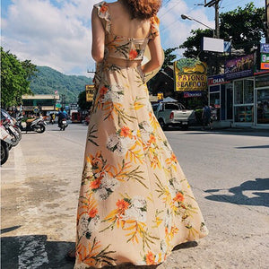 Summer Women Floral Print Casual Sundress Long Tropical Sexy Girl Vacation Korean Vintage Maxi Female Dress Beach Retro New
