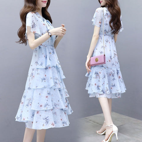 New summer dress of 2019 Korean version printed chiffon dress with long style and thin fragmented cake Dress