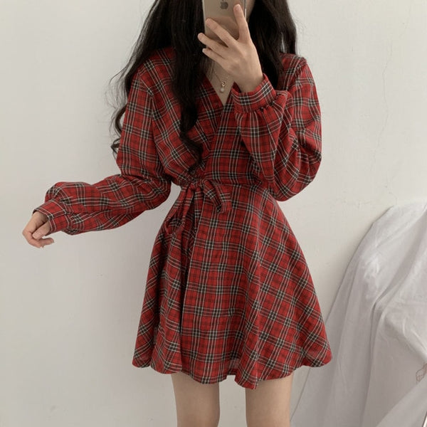 Long Sleeve Dress Women Vintage Palid V-neck Mini Dress Korean High Waist Lace-up Short Dress Preppy Style