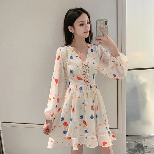 Loose New Fashion Casual Summer Dress Brief A-line Chffion Dresses Korean Vintage Bow V Nekc Floral Dress