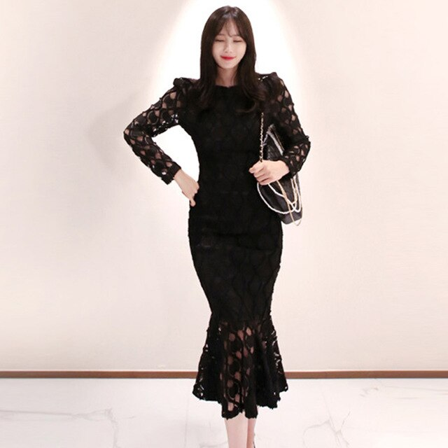 Sexy Hollow Out Lace Mermaid Bodycon Dress Winter Slim Brttoming Dresses OL Korean Style Party Vestidos