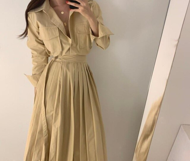 New Women Fashion Autumn Dress Safari Style Turn-down Collar Pocket Pleated Slim Vestidos Temperament Korean Dress