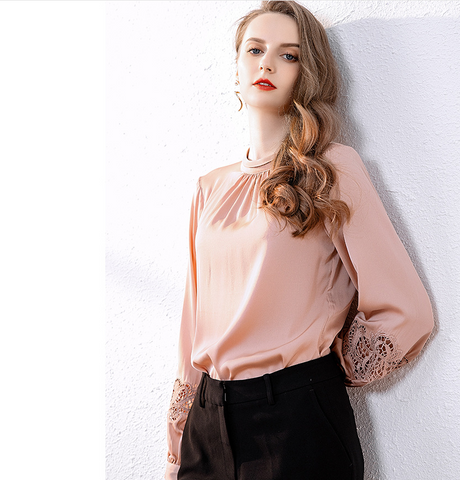 Spring new clothes super immortal perspective Shirt Long Sleeve Silk Top loose stand collar Lantern Sleeve temperament clothes