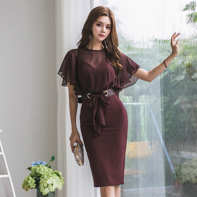 Women Dress Chiffon Dresses Woman Korean Office Lady Bodycon Dress Plus Size Summer Elegant Woman Mesh Dresses Women Vestidos XL