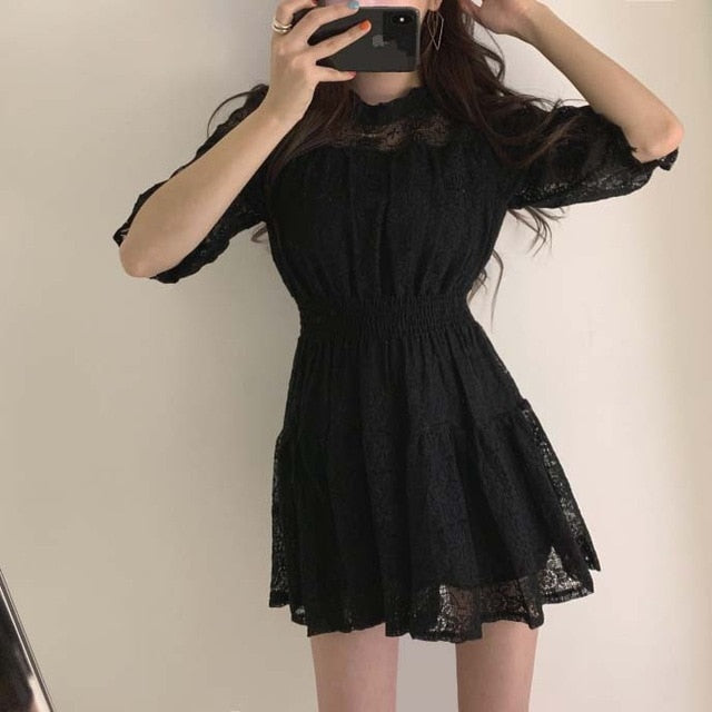 Lace Dress Elegant Vestidos Summer Vestido Black Office Women Korean Mini Short White a Line Robe Femme Ropa Mujer