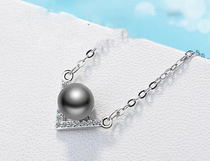 Simple 925 Sterling Silver Jewelry Zircon V Shaped Pearl  Pendants Necklace clavicle Chain Choker kolye collares bijoux femme