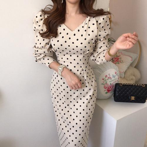 2020 Spring Corduroy Dot Print Korean Women Dress Lantern Sleeve V-neck Lace-up Bow Fashion Elegant Office Dresses Vestidos