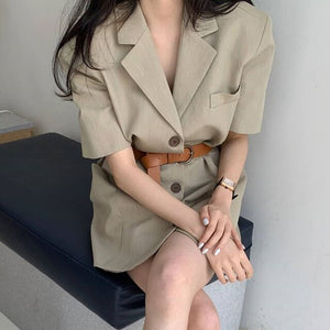 2020 Women Sexy Mini Dress Summer Short Sleeve Notched Single Breasted Korean Female Elegant Ladies Office Dress Vestido