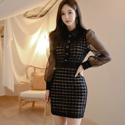 Dress Women 2019 Autumn Plus Size XL Black White Sexy Dresses Elegant Vestidos Korean Style Long Sleeve Clothing