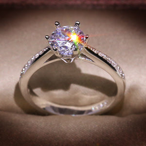 HOT SALE 925 Sterling Silver 1carat Heart Arrow Zircon Stone 6-claw Finger Rings for Women Wedding Statement Jewelry Gift