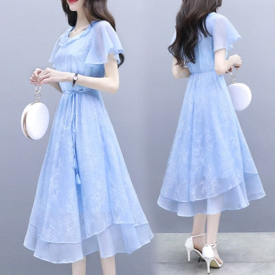 Women Dress Office Lady Korean Elegant Ruffles Chiffon Long Dress Retro Lace Maxi A-line Women Dress 2019 Female Vestidos
