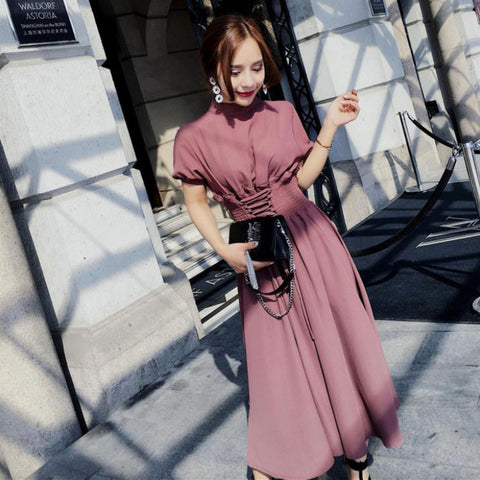 New summer elegant ladies long dress Korean fashion slim waist short-sleeved chiffon dress female spring