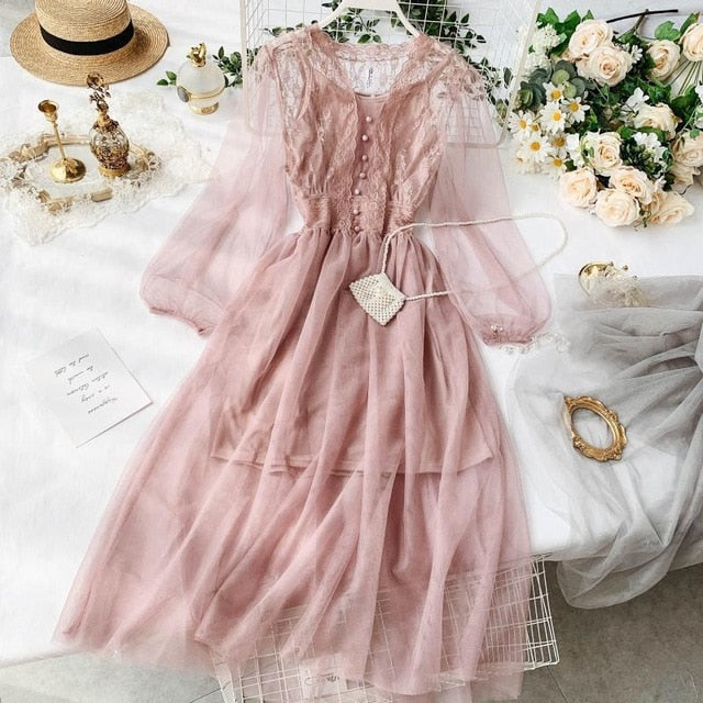 Sweet women mesh lace dresses vestidos 2019 spring autumn long sleeved slim sexy v-neck casual dress ladies korean long robe