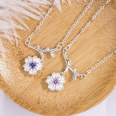 Simple Jewelry Silver color Pink/purple Zircon Plum Blossom Peony Flower Pendant Necklace for Women Clavicle Chain Kolye