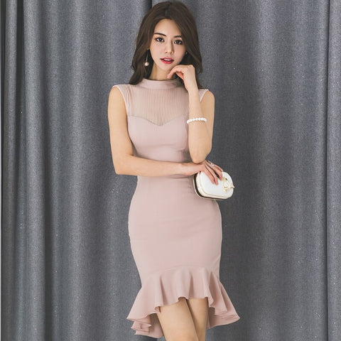 Elegant Women Dress 2019 Summer Fashion Pink Sexy Clothing Korean Sleeveless Patchwork Package Buttocks Lady Dress