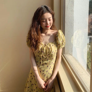 Print Floral Yellow Dress Cotton Mini Short Vestido Festa Sundress Runway Korean Style Women Vestidos Playa 2020 Vetement Femme