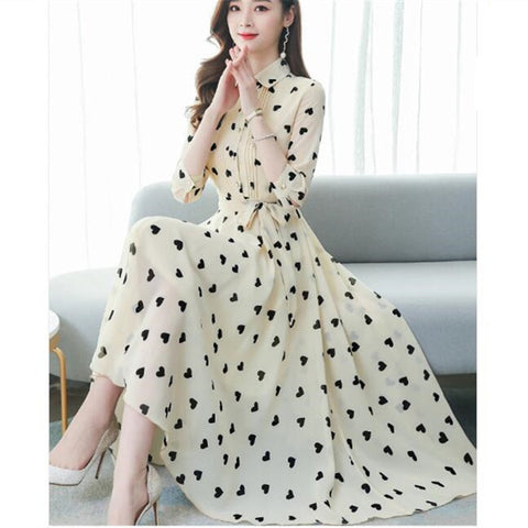 2020 Korean summer new stand-up collar seven-point sleeves temperament chiffon floral big swing dress women