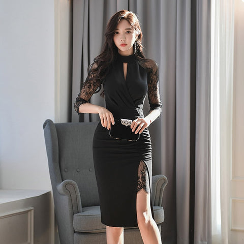 Half Sleeve Korean 2020 New Stand Collar Slim Hip Splicing Lace High-Waisted Black Bandage Dress Celebrity Bodycon Dress