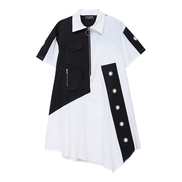 Women Contrast Color Irregular Big Size Shirt Dress New Lapel Short Sleeve Loose Fit Fashion Spring Summer 2020 1U647