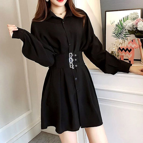 Gothic Shirt Dress Women Korean Chic Preppy Style A Line Casual Vintage Short Dresses Plus Size 4XL Spring Black Vestidos 2020