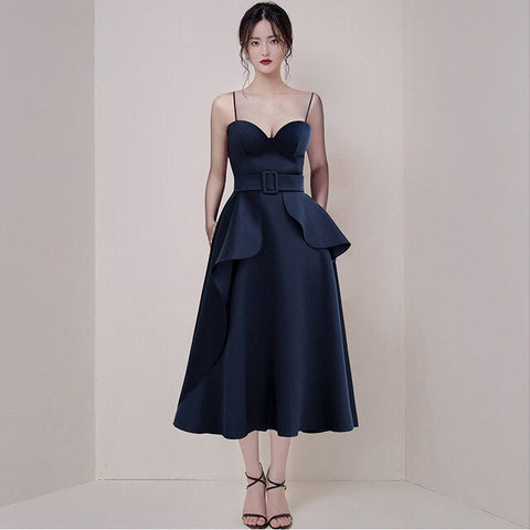 spring and summer new Korean women's temperament straps waist was thin stitching ruffled solid fashion dress