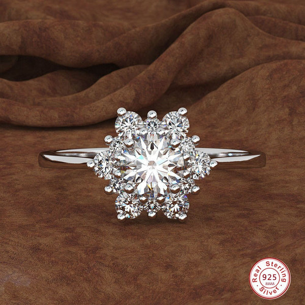 Luxury 925 Sterling Silver Female Snowflake Ring Fashion Crystal Zircon Stone Ring Bague Vintage Wedding Rings For Women anillos