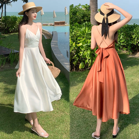 Long White Satin Women Slip Dress Summer 2020 Runway Elegant Vacation Party Night Dress Backless Tropical Korean Beach Sundress