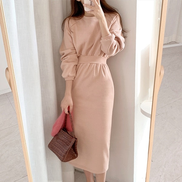 New 2020 Women's Autumn Winter Dresses Solid Multi Colors Casual Korean Style High Waist Minimalist Long Dress DR3019