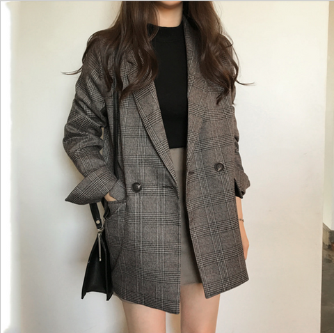 Classic Plaid Double Breasted Women Jacket Blazer Notched Collar Female Suits Coat Fashion Houndstooth  women clothes 2019