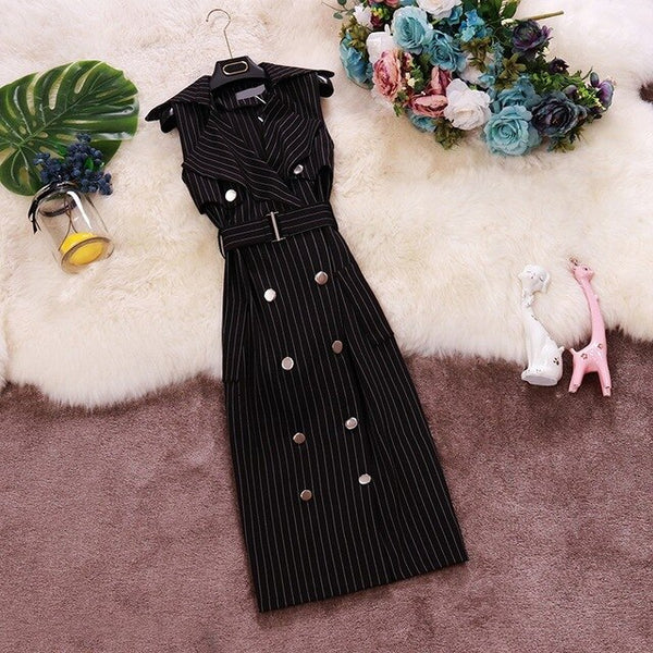 2020 Summer new OL temperament striped suit collar sleeveless waist mid-long double-breasted dress