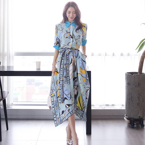 2019 summer new Korean temperament color matching shirt collar waist tie printed irregular dress