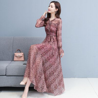 Real Shot Spring Autumn New Silk Dress Floral Elegant Long Sleeves Beach Dresses Women Clothes Black Apricot Red Blue