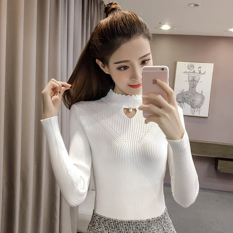 2020 New Style Half-Collar Sweater Western Style Tight Thickened Knitting Shirt Autumn and Winter Clothes tshirt women