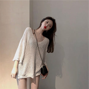 Autumn and Winter Knit Low Waist Jersey Clothes Women's Loose Lazy Style Western Style Sweater Fashion turtleneck sweater